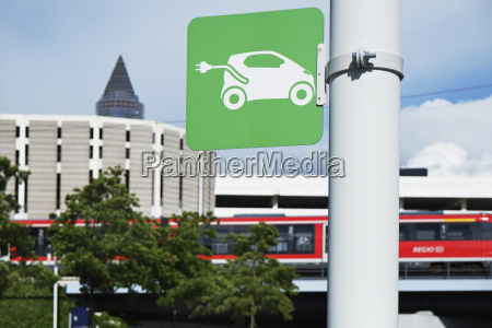 sign for an electric vehicle charging