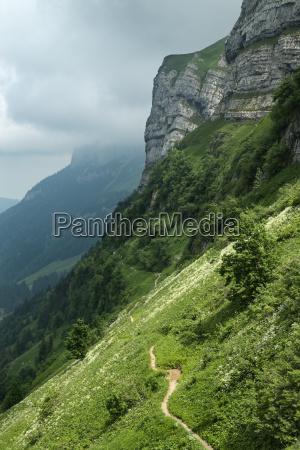 switzerland view of schrennenweg hiking trail
