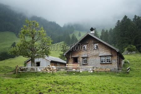 switzerland view of mountain hut in