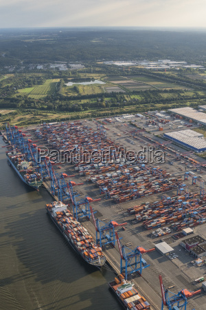 germany hamburg aerial view of container