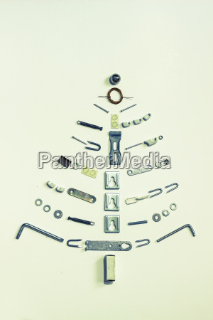 christmas tree formed of hardware on