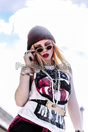portrait of stylish young woman wearing