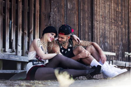 stylish young couple relaxing