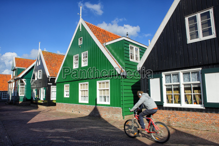 netherlands marken houses and person on