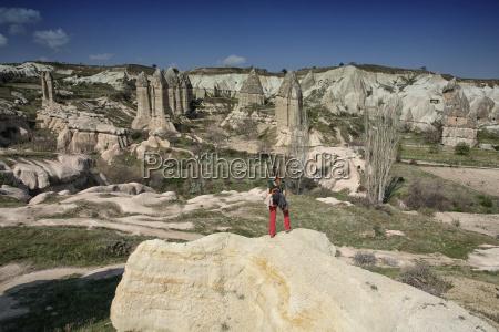 turkey cappadocia goereme tourist looking at