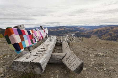 canada dawson city wooden bench with