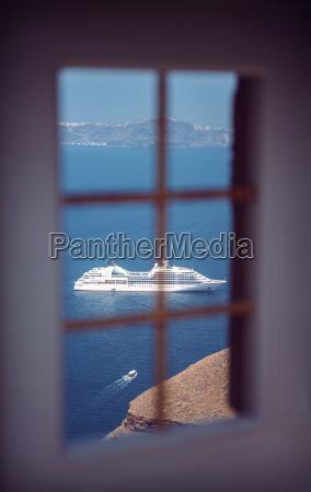 greece cyclades santorini oia view through
