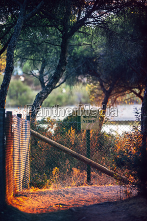 spain andalusia huelva fence and sign