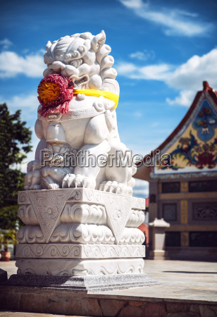 thailand rock lion in front of