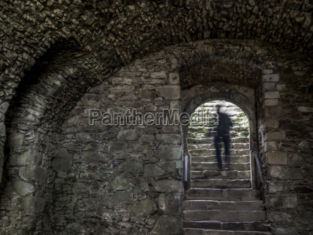 shadow of a man on stairs