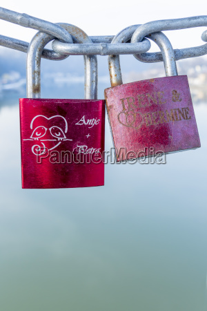 two love locks of lesbian couples