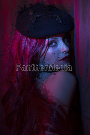 portrait of woman at bluish light