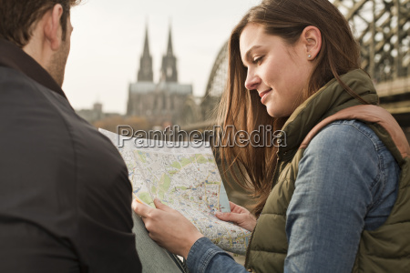 germany cologne young couple with city