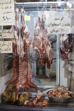 iran isfahan sheep meat at butcher