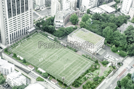 japan tokyo soccer field seen from