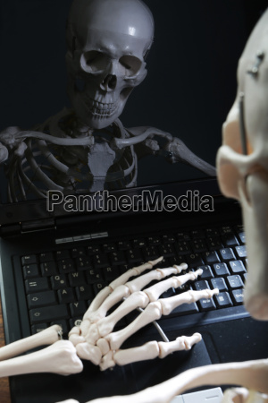 skeleton reflecting in monitor of computer
