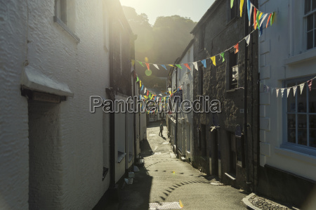 uk cornwall polperro narrow alley in