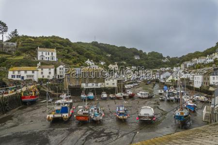 uk cornwall polperro boats at fishing