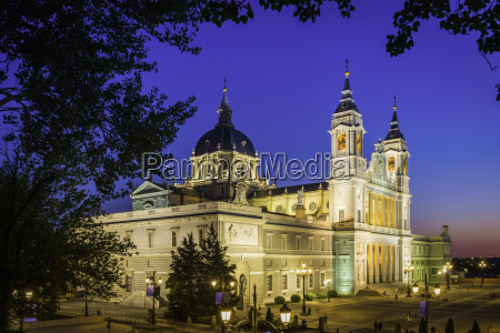 spain madrid almudena cathedral illuminated at