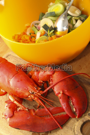 ingredients for lobster soup close up