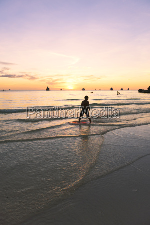 philippines boracay boy standing at seashore