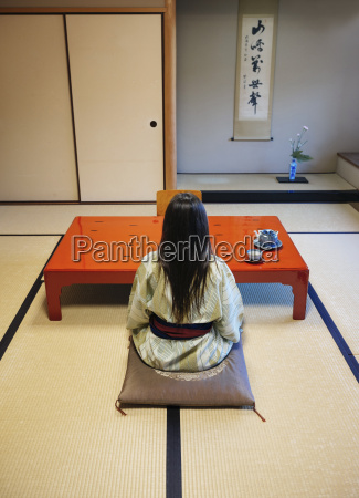 japan uji back view of woman