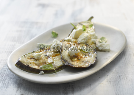 plate of grilled aubergine with feta