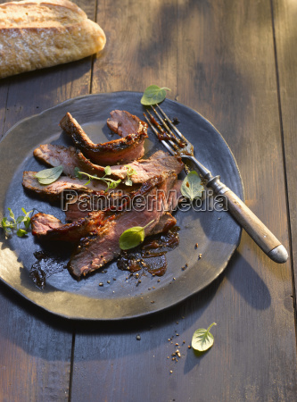 plate of grilled filet steak with