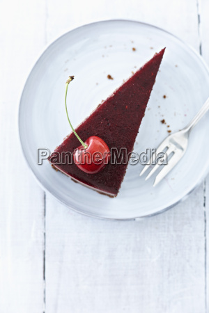cake with cherry on plate close
