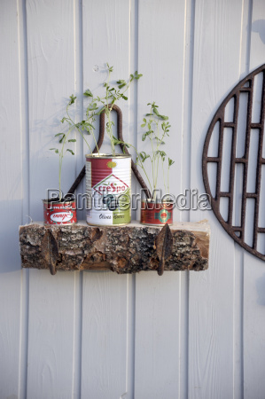 upcycled tin cans used as nursery