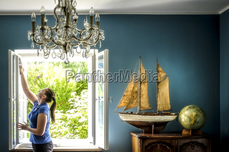 home interior with vintage ship model