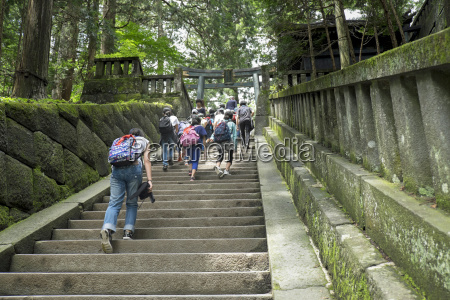 japan nikko temple district people on