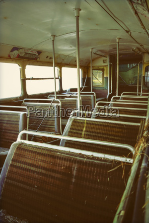 seats in an old double decker