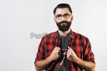 portrait of hipster in front of
