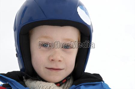 germany eschach boy with ski helmet