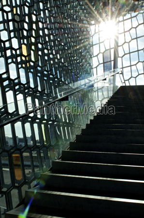 iceland reykjavik staircase and facade of