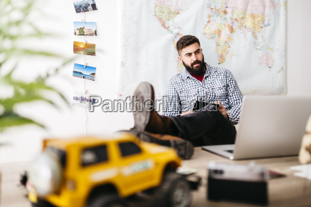 young traveler planning his next trip