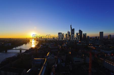 germany hesse franfurt sunset with skyline