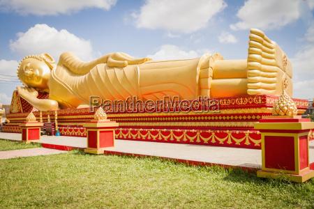 loas vientiane view of reclining golden