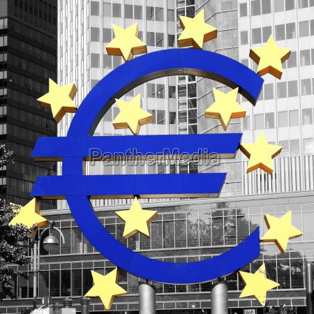 germany hesse frankfurt euro sign in