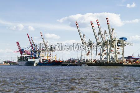 germany hamurg ship and cranes at