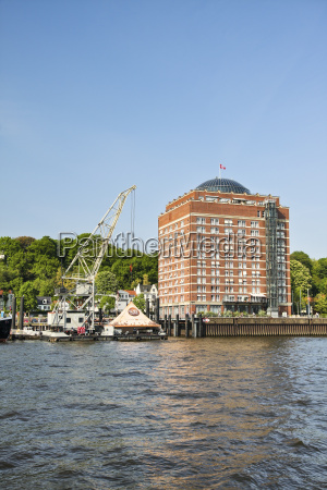 germany hamburg oevelgoenne pier at the