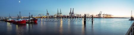 germany hamburg harbour elbe river blue