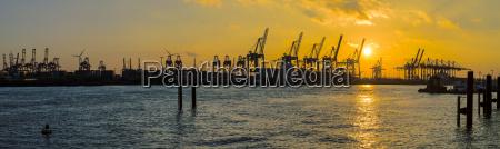 germany hamburg harbour cranes at elbe