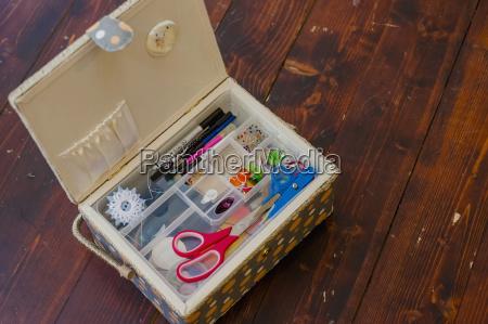 sewing kit close up
