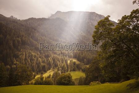 austria lungau sunbeam in alpine landscape