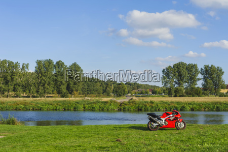 germany saxony mulde river red motorcycle