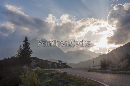 italy dolomite alps road at evening