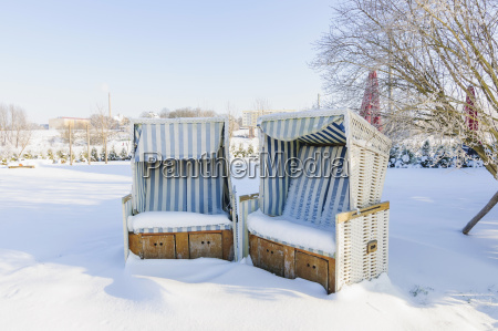 germany two snow covered hooded beach