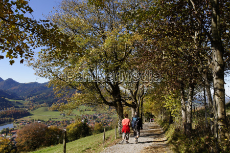 germany bavaria schliersee hikers on trail